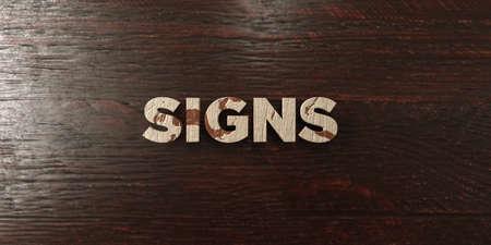 headline: Signs - grungy wooden headline on Maple  - 3D rendered