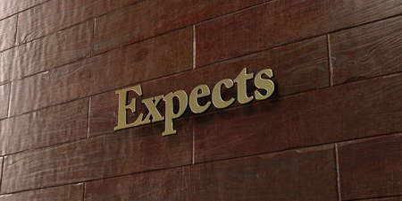 expects: Expects - Bronze plaque mounted on maple wood wall  - 3D rendered