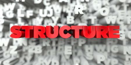 STRUKTURA - Czerwony tekst na tle typografii - renderowany w 3D