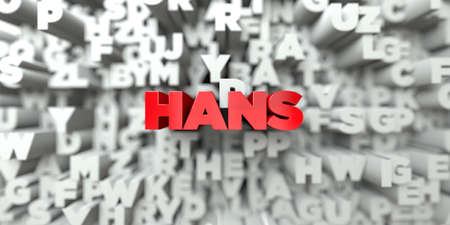 hans: HANS -  Red text on typography background - 3D rendered