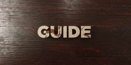 single word: Guide - grungy wooden headline on Maple  - 3D rendered