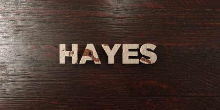 headline: Hayes - grungy wooden headline on Maple  - 3D rendered
