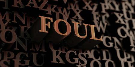 foul: Foul - Wooden 3D rendered lettersmessage.