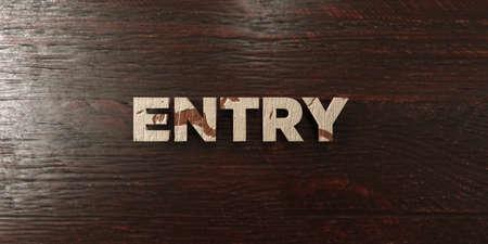 headline: Entry - grungy wooden headline on Maple  - 3D rendered