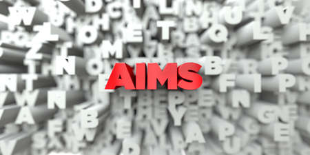 AIMS -  Red text on typography background - 3D rendered royalty free stock image. This image can be used for an online website banner ad or a print postcard.