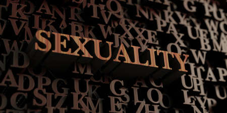 sexuality: Sexuality - Wooden 3D rendered lettersmessage. Stock Photo