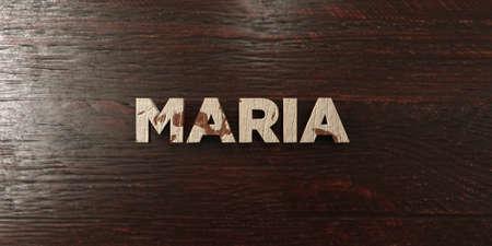 headline: Maria - grungy wooden headline on Maple  - 3D rendered