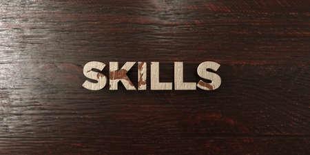 Skills - grungy wooden headline on Maple  - 3D rendered Imagens