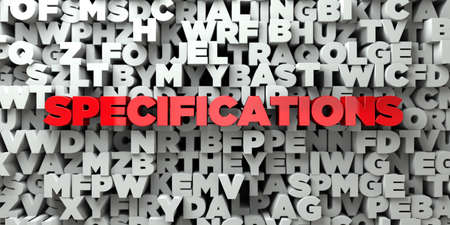 SPECIFICATIONS -  Red text on typography background - 3D rendered royalty free stock image. This image can be used for an online website banner ad or a print postcard.