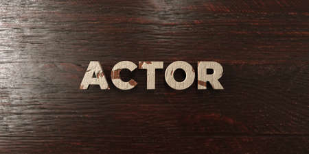 Actor - grungy wooden headline on Maple  - 3D rendered