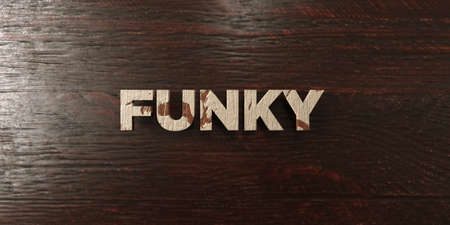 headline: Funky - grungy wooden headline on Maple  - 3D rendered Stock Photo