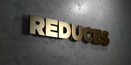 reduces: Reduces - Gold sign mounted on glossy marble wall  - 3D rendered Stock Photo