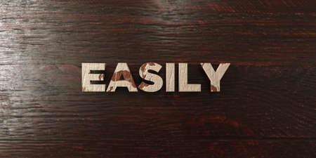 headline: Easily - grungy wooden headline on Maple  - 3D rendered
