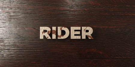 headline: Rider - grungy wooden headline on Maple  - 3D rendered