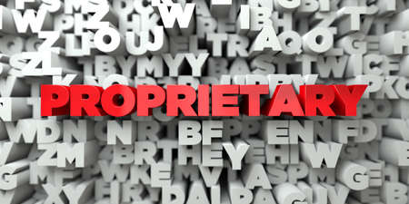 PROPRIETARY -  Red text on typography background - 3D rendered royalty free stock image. This image can be used for an online website banner ad or a print postcard.