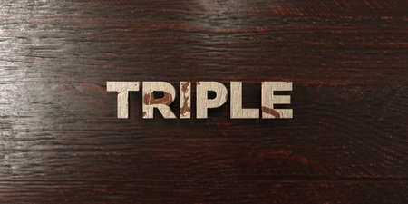 Triple - grungy wooden headline on Maple  - 3D rendered royalty free stock image. This image can be used for an online website banner ad or a print postcard.