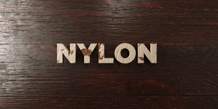 nylon: Nylon - grungy wooden headline on Maple  - 3D rendered royalty free stock image. This image can be used for an online website banner ad or a print postcard. Stock Photo