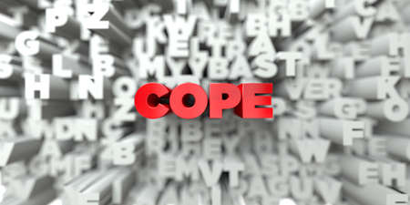 COPE -  Red text on typography background - 3D rendered royalty free stock image. This image can be used for an online website banner ad or a print postcard.