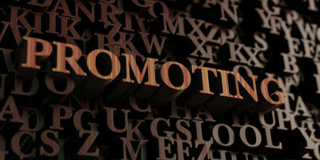 Promoting - Wooden 3D rendered letters/message.  Can be used for an online banner ad or a print postcard.