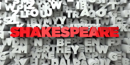SHAKESPEARE -  Red text on typography background - 3D rendered royalty free stock image. This image can be used for an online website banner ad or a print postcard. Stock Photo