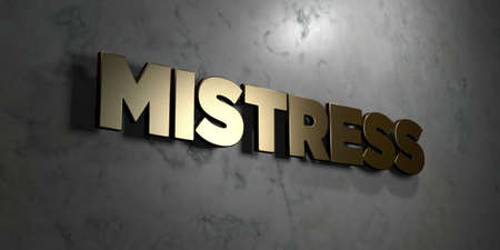 herrin: Mistress - Gold sign mounted on glossy marble wall  - 3D rendered royalty free stock illustration. This image can be used for an online website banner ad or a print postcard. Lizenzfreie Bilder