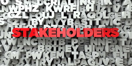 STAKEHOLDERS -  Red text on typography background - 3D rendered royalty free stock image. This image can be used for an online website banner ad or a print postcard.