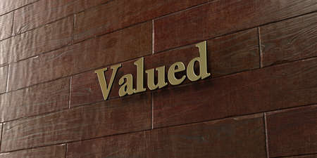 Valued - Bronze plaque mounted on maple wood wall  - 3D rendered royalty free stock picture. This image can be used for an online website banner ad or a print postcard. Stock Photo