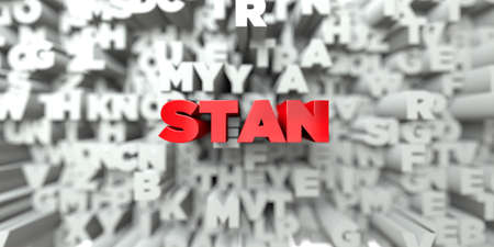 sentence typescript: STAN -  Red text on typography background - 3D rendered royalty free stock image. This image can be used for an online website banner ad or a print postcard.