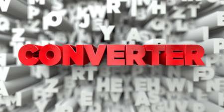 KONWERTER - czerwony tekst na tle typografii - 3D świadczonych Ten obraz może być używany do reklamy banerowej online lub pocztowej.