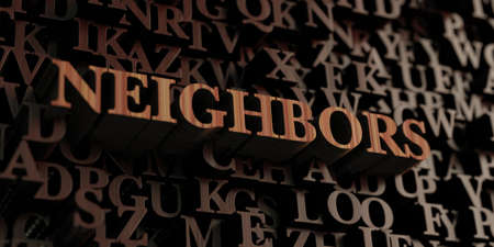 Neighbors - Wooden 3D rendered letters/message.  Can be used for an online banner ad or a print postcard. Zdjęcie Seryjne