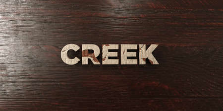 Creek - grungy wooden headline on Maple  - 3D rendered royalty free stock image. This image can be used for an online website banner ad or a print postcard.