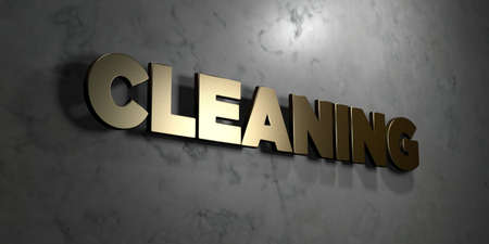 Cleaning - Gold sign mounted on glossy marble wall  - 3D rendered royalty free stock illustration. This image can be used for an online website banner ad or a print postcard.