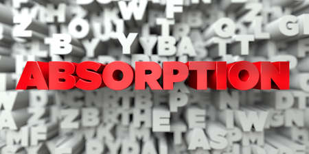absorption: ABSORPTION -  Red text on typography background - 3D rendered royalty free stock image. This image can be used for an online website banner ad or a print postcard.