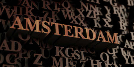 Amsterdam - Wooden 3D rendered lettersmessage.  Can be used for an online banner ad or a print postcard.
