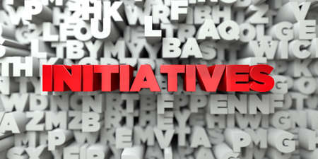 initiatives: INITIATIVES -  Red text on typography background - 3D rendered Stock Photo