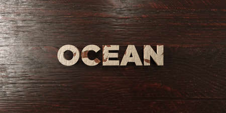 Ocean - grungy wooden headline on Maple  - 3D rendered royalty free stock image. This image can be used for an online website banner ad or a print postcard. Stock Photo