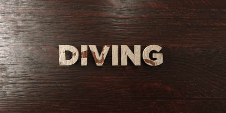 Diving - grungy wooden headline on Maple  - 3D rendered royalty free stock image. This image can be used for an online website banner ad or a print postcard.