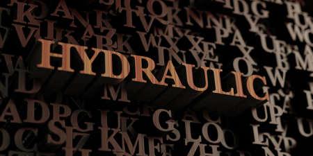 Hydraulic - Wooden 3D rendered lettersmessage. Reklamní fotografie