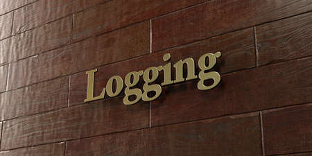 logging: Logging - Bronze plaque mounted on maple wood wall  - 3D rendered royalty free stock picture. This image can be used for an online website banner ad or a print postcard.
