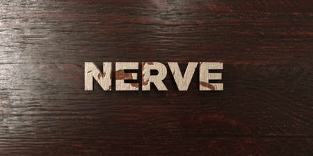 nerve message: Nerve - grungy wooden headline on Maple  - 3D rendered royalty free stock image. This image can be used for an online website banner ad or a print postcard.