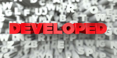 developed: DEVELOPED -  Red text on typography background - 3D rendered royalty free stock image. This image can be used for an online website banner ad or a print postcard. Stock Photo