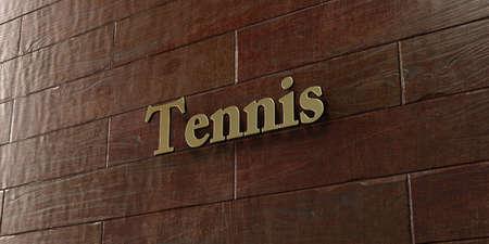 테니스 - 메이플 나무 벽에 장착 된 청동 플레이트 - 3D 로열티 무료 재고 사진을 렌더링합니다. 이 이미지는 온라인 웹 사이트 배너 광고 또는 인쇄 엽서에 사용할 수 있습니다. 스톡 콘텐츠 - 72487598