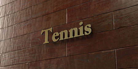 Tennis - Bronze plaque mounted on maple wood wall  - 3D rendered royalty free stock picture. This image can be used for an online website banner ad or a print postcard.