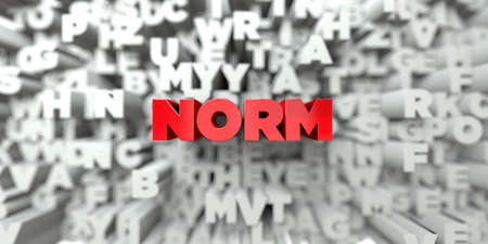norm: NORM -  Red text on typography background - 3D rendered royalty free stock image. This image can be used for an online website banner ad or a print postcard. Stock Photo