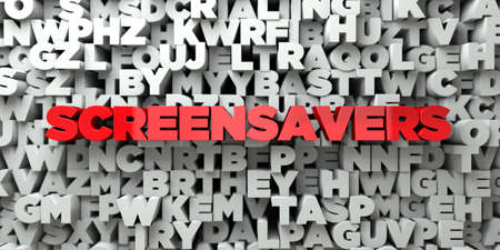 screensavers: SCREENSAVERS -  Red text on typography background - 3D rendered royalty free stock image. This image can be used for an online website banner ad or a print postcard. Stock Photo