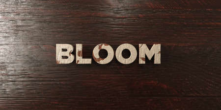 Bloom - grungy wooden headline on Maple  - 3D rendered royalty free stock image. This image can be used for an online website banner ad or a print postcard.