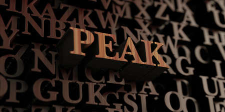 Peak - Wooden 3D rendered lettersmessage.  Can be used for an online banner ad or a print postcard.