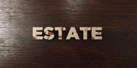 headline: Estate - grungy wooden headline on Maple  - 3D rendered
