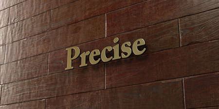 precise: Precise - Bronze plaque mounted on maple wood wall  - 3D rendered royalty free stock picture. This image can be used for an online website banner ad or a print postcard. Stock Photo