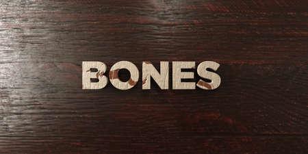 headline: Bones - grungy wooden headline on Maple  - 3D rendered